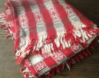 Antique Red Check Tablecloth Cotton Picnic French Country Farmhouse