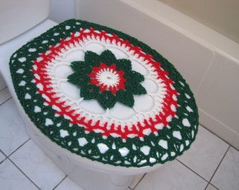 Holiday Toilet Seat Cover or Holiday Toilet Tank Lid Cover- cherry red/paddy green/ soft white (TSC17L or TTL17L)