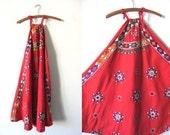 Halter Top Woven Tapestry Dress - Boho Chic Embroidered Hippie Kaftan Handkerchief Maxi Dress