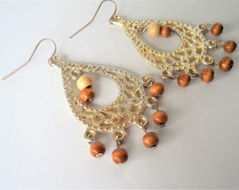 Bohemian style earrings, Boho, Wood Jewelry, Boho style, wood, mixed metal,