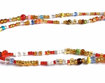 Multi-coloured Handmade African Waist Bead