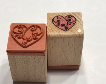small fancy heart rubber stamp, 16 mm (BB4)