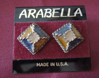 Vintage Enamel Earrings.  Square, Post Style, Nice Condition