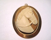 Cameo Horse Head Pendant, Cream horse, Gold Setting, 2 inch pendant, jewelry supplies, necklace pendant