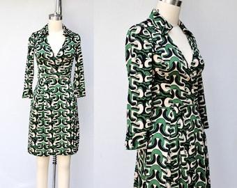 Diane Von Furstenberg SILK Dress - DVF Silk Wrap Dress - Novelty Print Dress - Abstract Print Dress - Pockets Dress - size 0 - XXs - XS