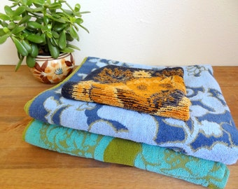 Vintage Mismatched Floral Bath Towel Set Greens & Blues
