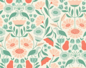 1/2 Yard Organic Cotton Fabric - Cloud 9 Fabrics, Park Life, Victorian Afternoon Pink