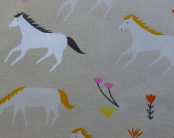 1/2 Yard Organic Cotton Fabric - Cloud 9 Fabrics, Stay Gold, Ponies Mist