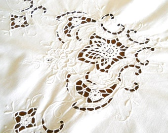 vintage Richelieu tablecloth white embroidered tablecloth Richelieu embroidery cutwork tablecloth vintage french tablecloth shabby chic