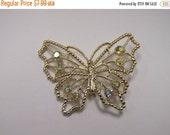 On Sale Vintage Sparkling Iridescent Rhinestone Butterfly Pin Item K # 2236