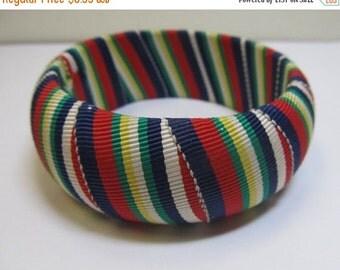 On Sale Vintage Multicolored Fabric Bangle Bracelet Item K # 2560