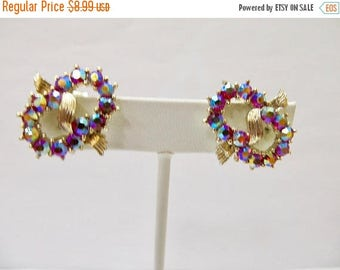 On Sale CORO Vintage Candy Apple Red Rhinestone Earrings Item K # 2664
