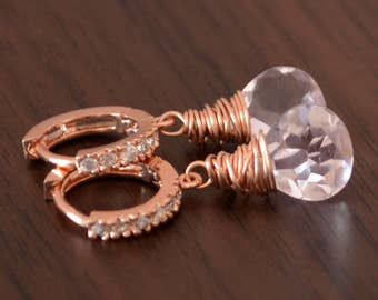 Rose Gold Earrings, Morganite Quartz, Blush Pink Gemstone Jewelry, Pave Huggie Earwires, CZ Cubic Zirconia - Pink Ice - Free Shipping