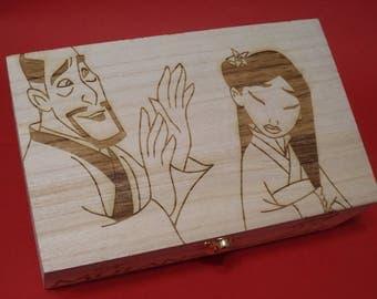 Mulan Etched Wood Trinket Box