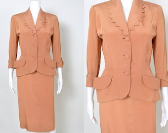 Vintage 1950s Suit 50s Designer Dress Fred A Block Nipped Waist Hourglass New Look