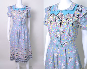 Vintage 1930s Dress or Early 1940s Border Print Cotton Day Dress Colorful Pink Turquoise and Grey