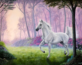 "Fine art print of White Horse Runing Through Forest ""Delight"" Painted By Sacha Phariss"