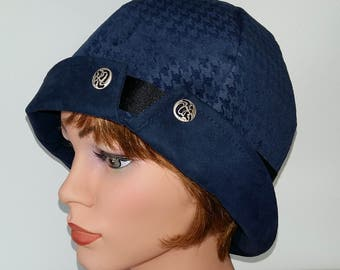 Cloche Hat Flapper Hat 20s 1920s Downton Abbey , blue, Vintage Style 21,5 -22 inch