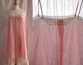 Vintage lingerie 1920's Pretty slip dress, cotton veil, upcycled