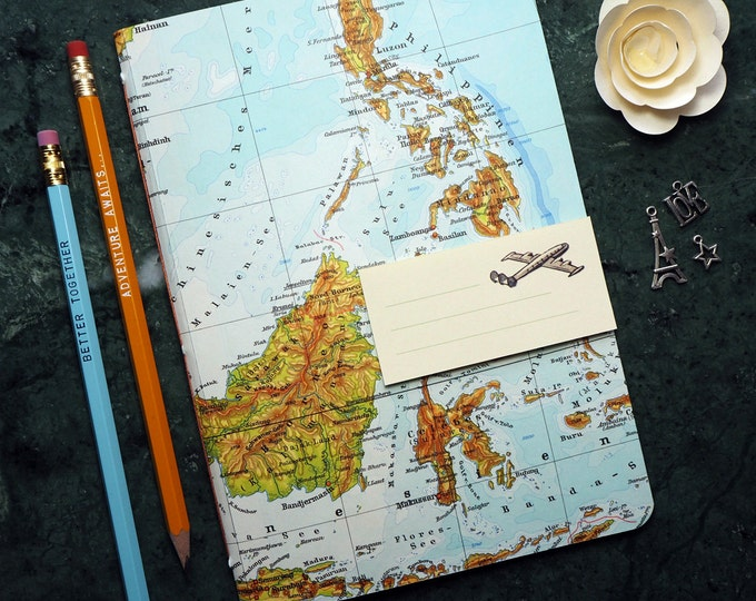 TRAVEL JOURNAL Phillipines, Thailand, Borneo, 5,7x8,2inch, 36 p. RULED travel journal, diary, notebook, atlas, map, vintage, upcycling