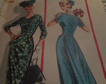 Vintage 1950's McCall's 3831 Dress with Detachable Panel Sewing Pattern, Size 16 Bust 36