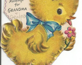 Vintage 1940's Easter Card Greeting Card Spring Chick