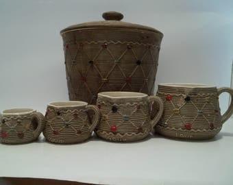 Vintage Cookie Jar and Measuring Cup Set