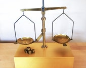 Vintage Brass Apothecary or Jewelry Balance Scale Rex Original Case