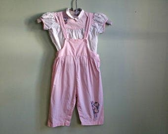 1950's 2 Piece Toddler Set - Overalls & Blouse - Embroidered Bear Pink and White Play Set -