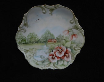 Vintage Plate: Hand painted porcelain