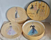50s Fashion Dessert Plates by Rosanna - Retro - Ooh La La - Collectibles - Wall Decor - Art - Hat Box - French Couture  - Porcelain