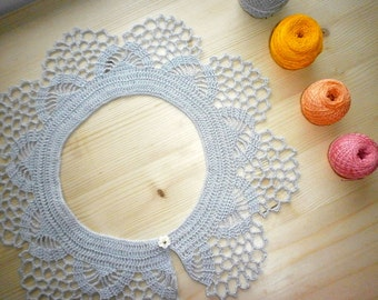 Silver lace crochet dress collar Handmade detachable Peter Pan collar Bohemian necklace fashion Festival wedding accessories Neck jewelry