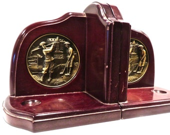 Bookends Bronze and Cherry Wood, Golf Figural Medallions, Gifts for Him, Executive Office