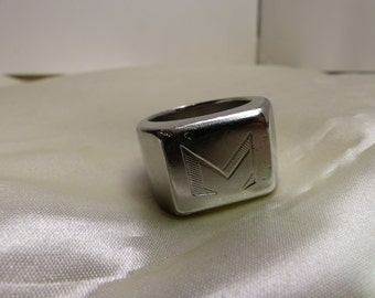 18 kt white Gold Ring - 36 grms-about 1910-Sz 12-Very Big Ring- Artisan 1726