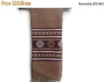 SALE Greek Tapestry Table Runner Tablecloth Brown Embroidered Made in Greece