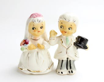 Vintage Bride and Groom Cake Topper, RARE Napco Bride and Groom Candle Huggers, Taper Holders, Wedding Decor Napkin Rings Unique Topper
