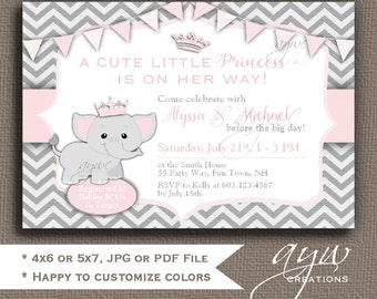 Elephant Baby Shower Invitations Girl Elephant Baby Shower