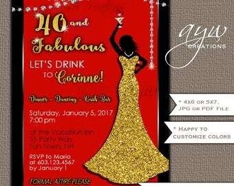 50th Birthday Party Invitations Woman Bling Dress 40th Womans Birthday Party Invites Dress Bling Gold Cocktail Party Formal Party Red Black