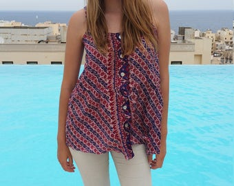 authentic indian silk top/ boho button blouse / hand blocked silk / gipsy summer top/ festival style tee