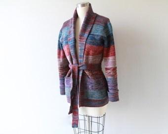 1970s Space Knit Striped Sweater / Vintage 70s Melange Cardigan Jumper
