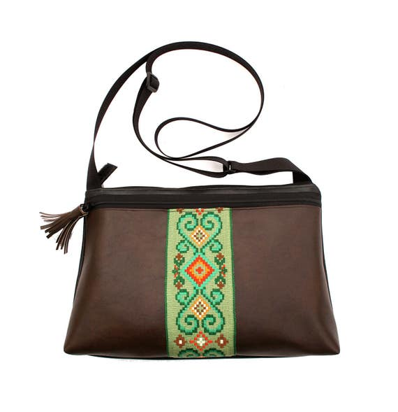 Dark brown vinyl, green vintage trim, boho, medium crossbody, vegan leather, zipper top, tassel