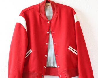 Vintage 40s Red Letterman white leather wool Varsity college coat jacket