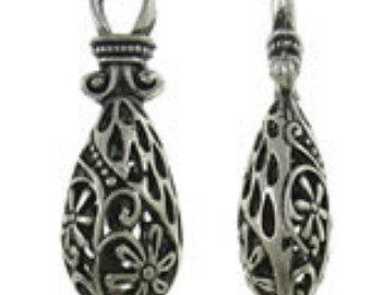 2pc 35x12mm antique silver finish metal  teardrop hollow pendant-7228f