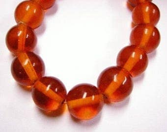 10pc 12mm orange red round glass bead-4391