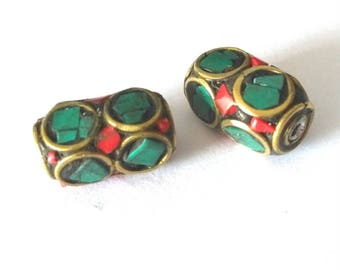 2 pieces 15x8mm Tibetan Brass Bead with Turquoise and Coral Inlay - OFF62