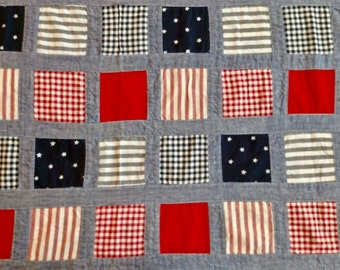 "Vintage Patriotic pieced fabric 2 1/2 yards long by 44"" wide"