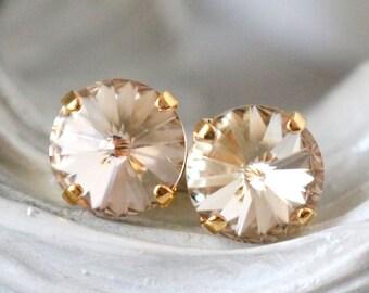 Light Silk Earrings | Swarovski Crystals | Stud Earrings | Wedding Jewelry | Light Silk Studs | Silk Earrings | Gift For Her | Bridal Gift