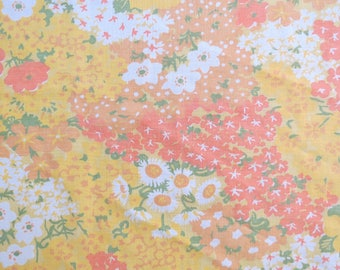 One Yard of Vintage Sheet Fabric - Orange Yellow Field