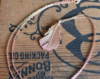 Rose Gold Feather Necklace FREE SHIPPING