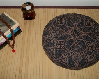 "Zafu Meditation Cushion. Dorm Pillow. Floor Pillow. Paisley Medallion in brown/blue. Buckwheat Hull fill. 15""x5"". 5""L. Zipper. Handmade, USA"